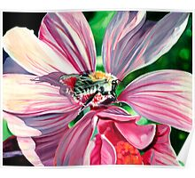 Buzzy Work - oil painting of a busy bee at work Poster