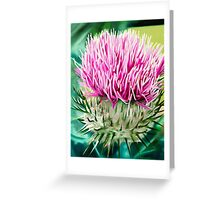 Grey Lady Thistle - oil painting of a wild thistle Greeting Card