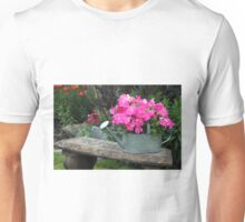 Pink Petunias In Watering Can  Unisex T-Shirt