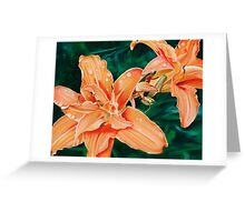Lilaceous - oil painting of orange lilies Greeting Card