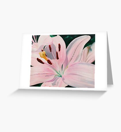 Lily Luster - oil painting of a lily Greeting Card