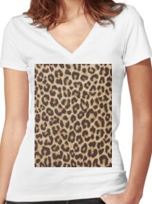 Leopard Print Women's Fitted V-Neck T-Shirt