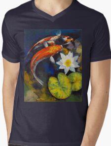 Koi Fish and Water Lily Mens V-Neck T-Shirt