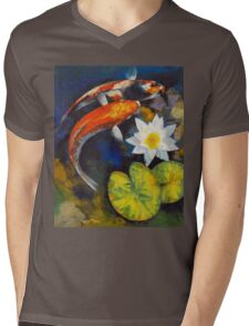 Koi Fish and Water Lily Mens V-Neck T-Shirt