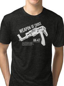 'Weapon of Choice - AK47' - White Logo Tri-blend T-Shirt