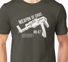 'Weapon of Choice - AK47' - White Logo Unisex T-Shirt