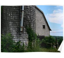 Old Farmhouse Silo and Shed   ^ Poster