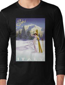 Vintage Italian Ski sport poster, ski italy Long Sleeve T-Shirt
