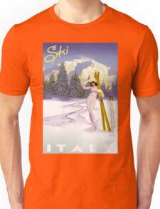 Vintage Italian Ski sport poster, ski italy Unisex T-Shirt