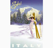 Vintage Italian Ski sport poster, ski italy Womens Fitted T-Shirt
