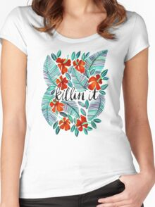 Killin' It – Tropical Red & Green Women's Fitted Scoop T-Shirt