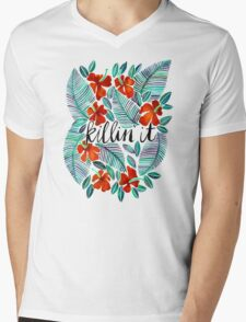 Killin' It – Tropical Red & Green Mens V-Neck T-Shirt
