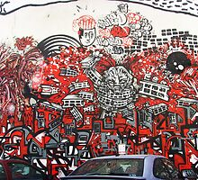 Red explosion - red wall 1 by Carol Dumousseau