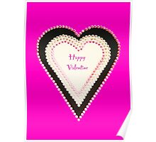 Happy Valentine Pink Beaded Heart  Poster