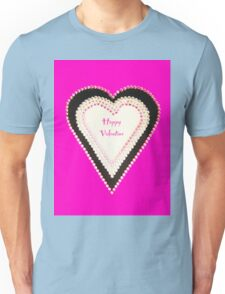 Happy Valentine Pink Beaded Heart  Unisex T-Shirt