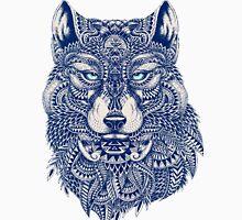 Blue Tones Detailed Wolf Head Illustration Art T-Shirt