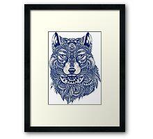 Blue Tones Detailed Wolf Head Illustration Art Framed Print