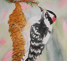 Downy Woodpecker Closeup by Warren  Thompson