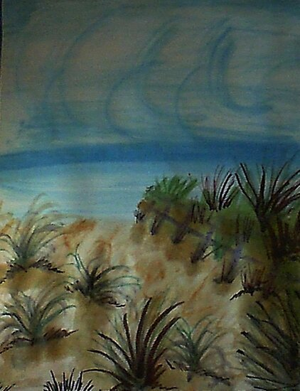 Path along Fence to the beach, watercolor by Anna  Lewis, blind artist