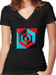 Hand-painted space cube design Women's Fitted V-Neck T-Shirt