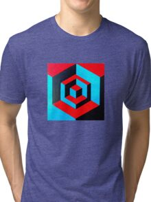 Hand-painted space cube design Tri-blend T-Shirt