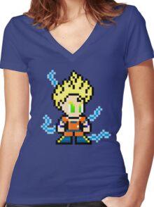 Goku Super Saiyan 8-Bit Women's Fitted V-Neck T-Shirt