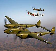 Formation of P-38 Lightnings by StocktrekImages
