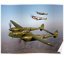 Formation of P-38 Lightnings Poster