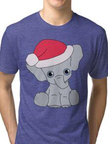 Christmas Elephant Tri-blend T-Shirt