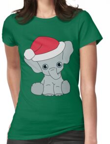 Christmas Elephant Womens Fitted T-Shirt