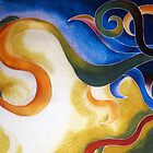 Day & Night - Abstract Swirls on Silk by Angel Ray