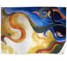 Day & Night - Abstract Swirls on Silk Poster