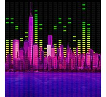 DJ NYC NY Skyline Sound Bar Meter Music Engineering Photographic Print