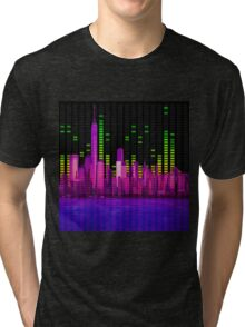 DJ NYC NY Skyline Sound Bar Meter Music Engineering Tri-blend T-Shirt