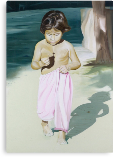 Crossroads - oil painting of a Mexican child  by James  Knowles