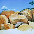 Los Gemelos - oil painting of rocks on a Mexican beach by James  Knowles