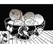 My Gorgeous Fruit Bowl - Linocut Photographic Print