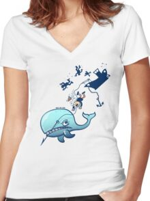 Whales are Furious! Women's Fitted V-Neck T-Shirt