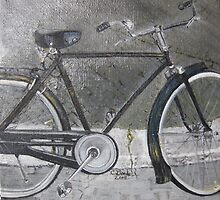 Bicycle in Rome - Original Oil on canvas by Claudia Goodell