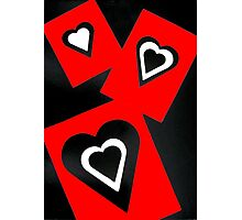 Hearts in Black Red and White  Photographic Print