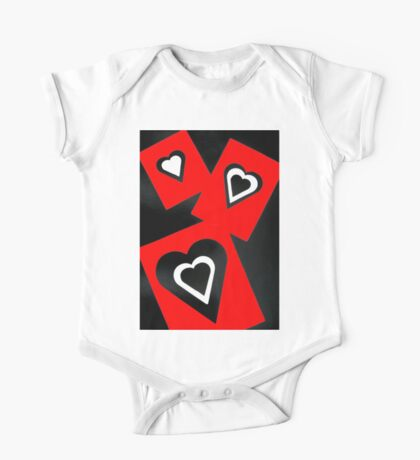 Hearts in Black Red and White  One Piece - Short Sleeve