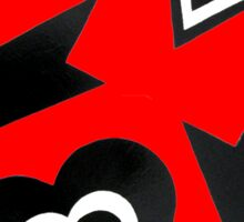 Hearts in Black Red and White  Sticker