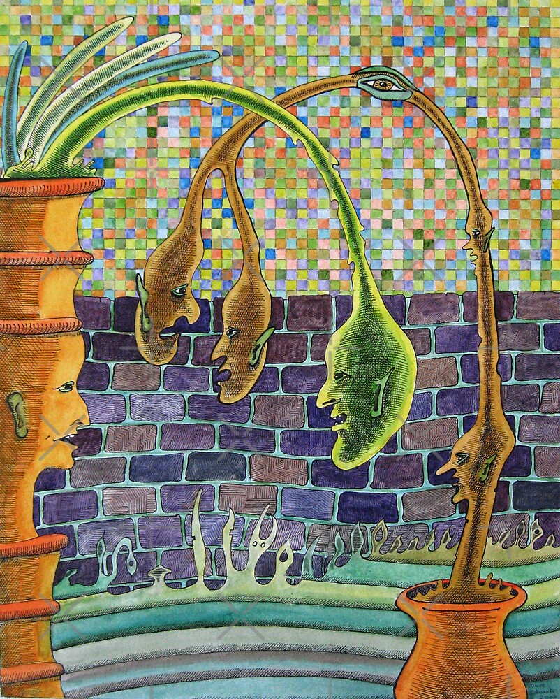 215 - PLANTPOT HEADS II - DAVE EDWARDS - INK & WATERCOLOUR - 2008 by BLYTHART
