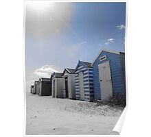 Blue beach huts, Southwold, Suffolk Poster