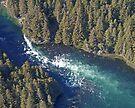 Aerial of a horizontal waterfall, Kodiak Island, Alaska, USA by Margaret  Hyde