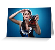 """""""Pose just like this"""" Pin-up Girl Greeting Card"""