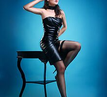Leather Pin-up Girl  by Laura Balc Photography