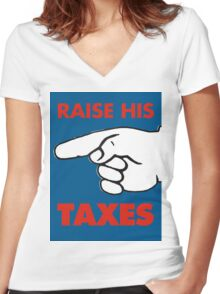 Raise His Taxes Women's Fitted V-Neck T-Shirt