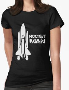 Rocket Man - White Womens Fitted T-Shirt