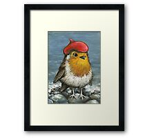 Master robin at the seashore Framed Print